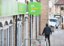 job centre sign on a high street