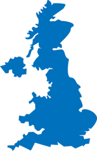 Map of the united kingdom in a solid blue color